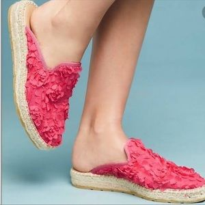 NWOT Anthro pink floral espadrilles mules size 9